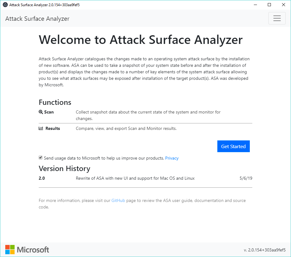Viewing Attack Surface Analyzer V2.2.39 (Windows