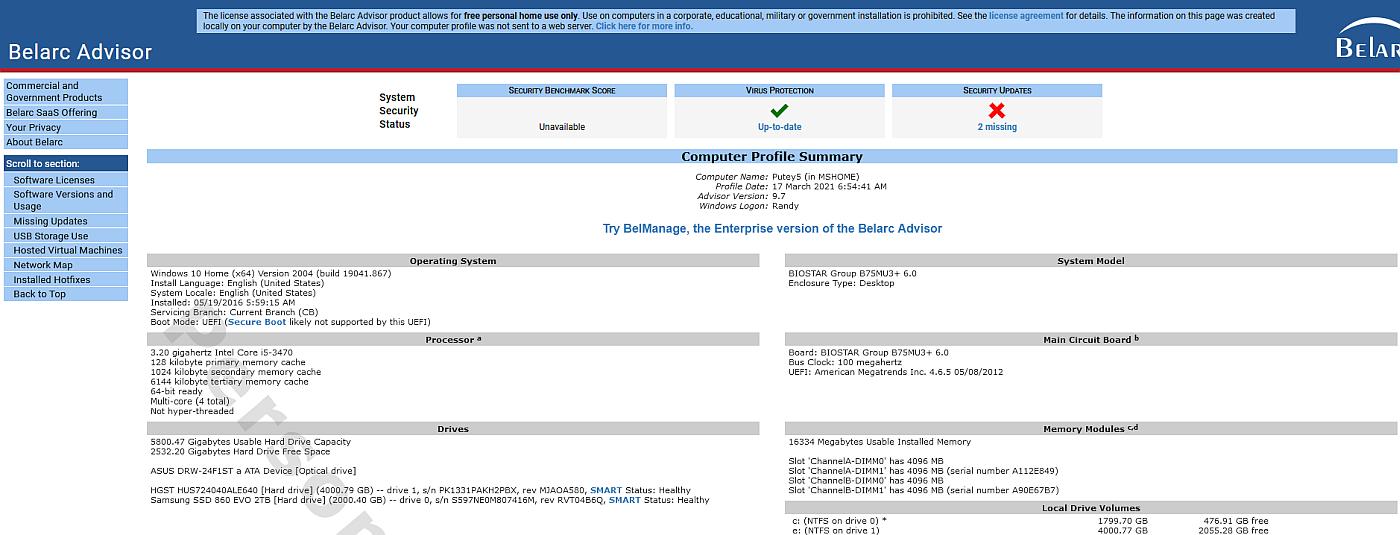 Viewing Belarc Advisor v9 0 - OlderGeeks com Freeware Downloads