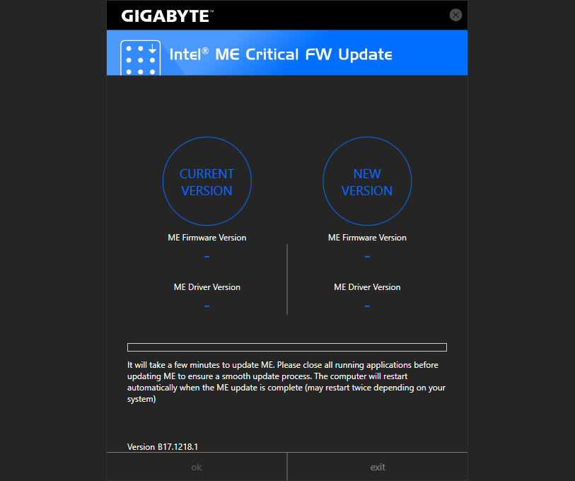Viewing GIGABYTE Intel ME Critical FW Update Utility vB18