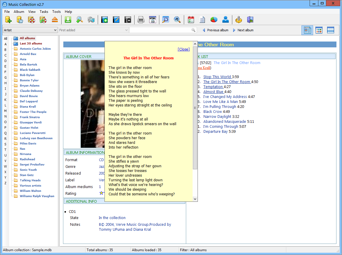 Viewing Music Collection v3 0 2 - OlderGeeks com Freeware Downloads