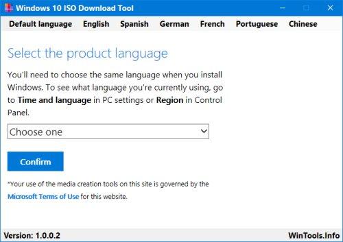 Viewing Windows 10 ISO Download Tool v1 2 0 9 - OlderGeeks