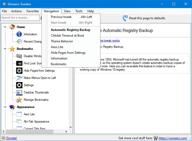 Viewing Winaero Tweaker v0 15 - OlderGeeks com Freeware