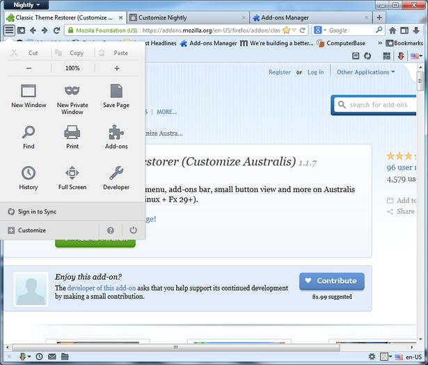 Viewing Classic Theme Restorer for Firefox 1 6 4 - OlderGeeks com